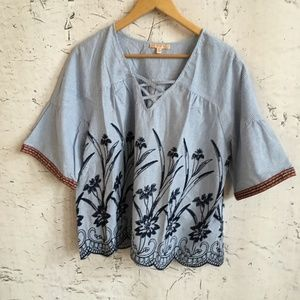 SKIES ARE BLUE STRIPE FLORAL BLOUSE L